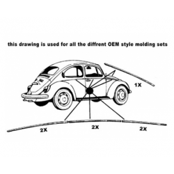 Volkswagen Kever 1302 1303 sierlijst set 7 delig 111898111E - 1
